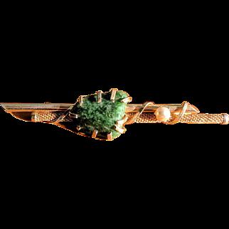 Vintage 1950's Green Agate Bar Pin