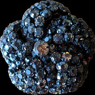 Vintage Chocolate Brown and Amber Rhinestone Flower Pin by Warner