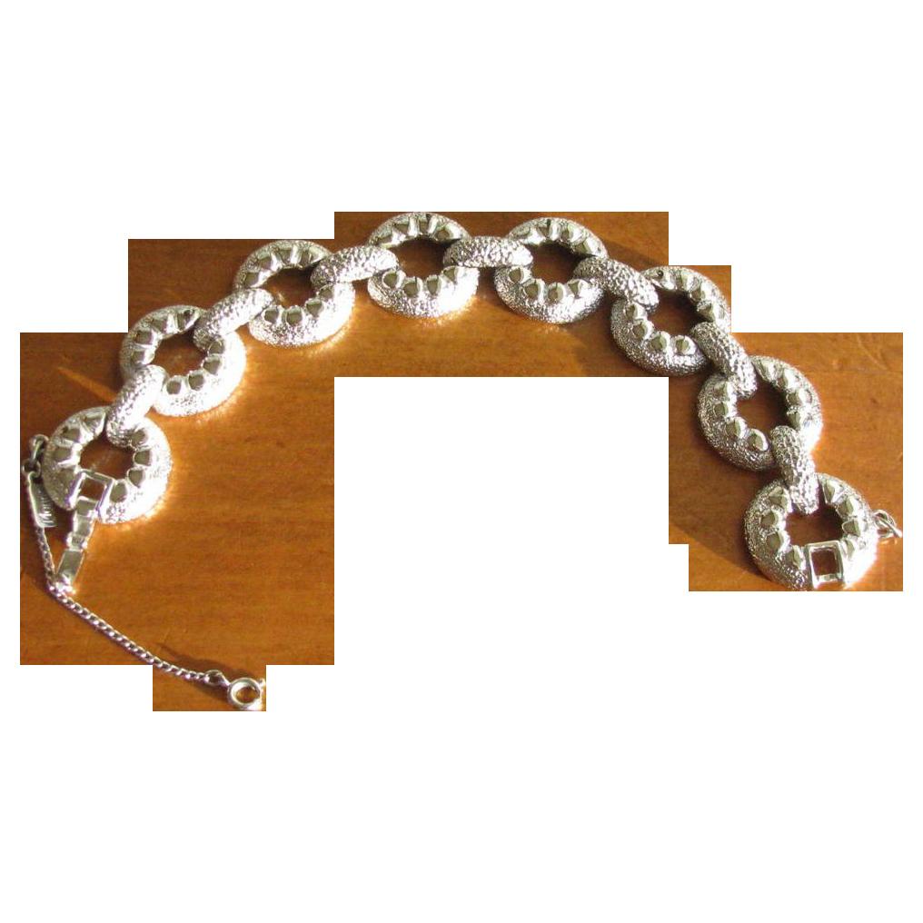 Vintage 1950's Monet Wide Silvertone Circle Link Bracelet