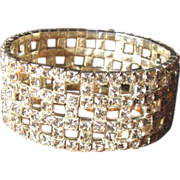 Vintage Wide Rhinestone Stretch Bracelet