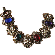 Vintage 1960's Ornate Wide Link Colorful Boho Bracelet