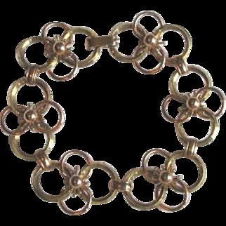 Mid Century Krementz Mod Floral Link Bracelet