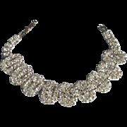 Vintage 1950's Oval Link Rhinestone Bracelet