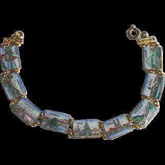 Vintage Swiss City Souvenir Link Bracelet