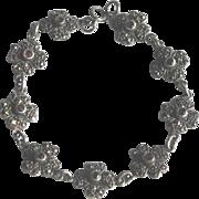 Vintage Flower Link Bracelet in Sterling Silver with Marcasite and Garnets