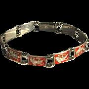 Vintage Siam Silver Red Enamel Ramayama Character Bracelet