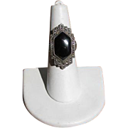 Vintage 1920's Art Deco Onyx Marcasite and Sterling Ring