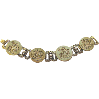 Vintage 1940s Greek Mythology Wide Bookchain Bracelet
