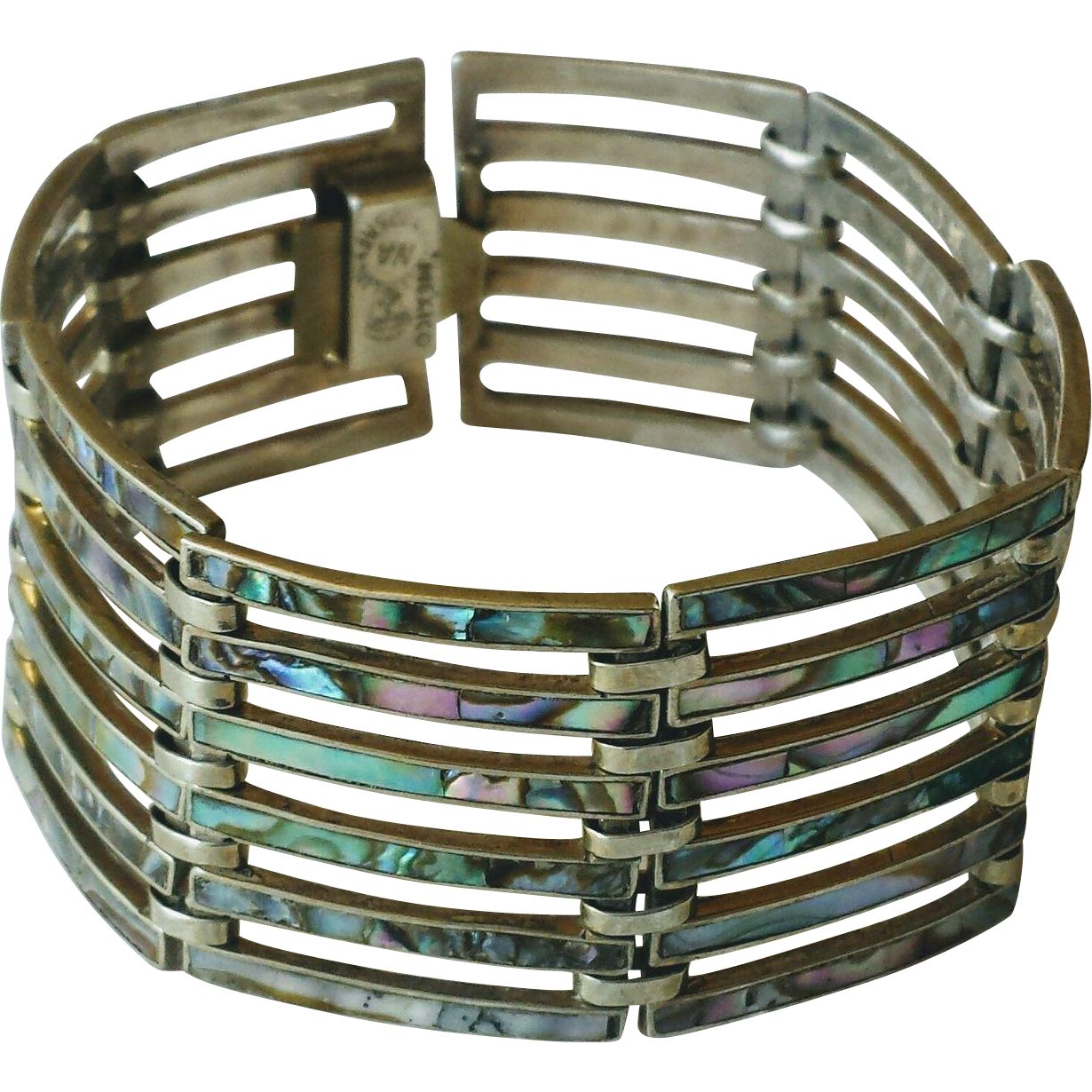 Vintage 1950s Mexico Sterling Silver and Abalone Wide Panel Bracelet