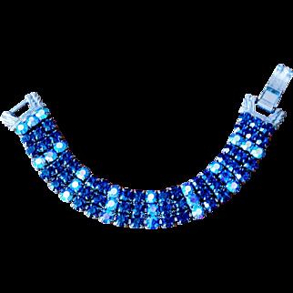Vintage 1950s Wide Blue Rhinestone Bracelet