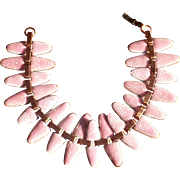 Vintage 1950's Renoir Matisse Pink Enamel and Copper Nefertiti Bracelet