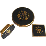 Vintage 1960's KIGU of London Black and Gold Floral Compact Set