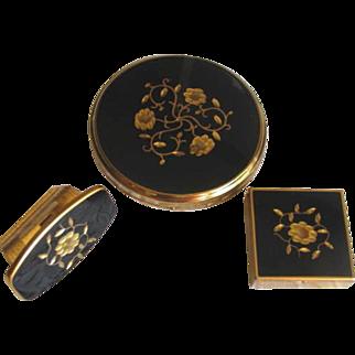 Vintage 1960's KIGU of London Black and Gold Floral Compact Set