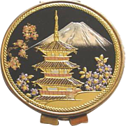 Mid Century Mirror Compact with Japanese Pagoda, Mt. Fuji, Cherry Blossom Theme