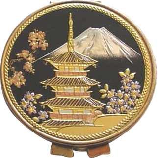 Mid Century Mirror Compact with Japanese Pagoda, Mt. Fuji, Cherry Blossom Theme