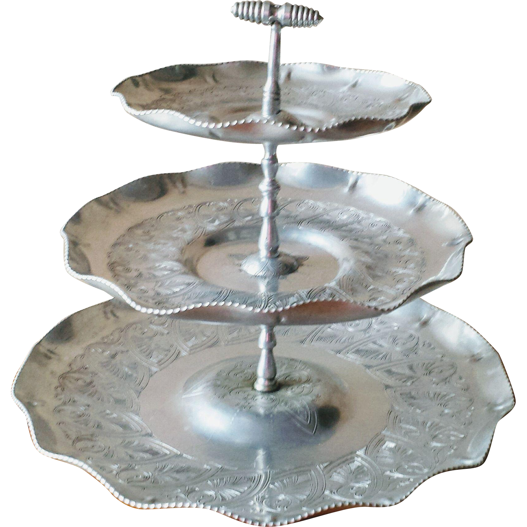 Vintage 1950s Three Tier Handwrought Aluminum Tidbit Tray