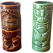 Vintage 1960s Tiki Mugs Orchids of Hawaii Brown and Green - Set of 2