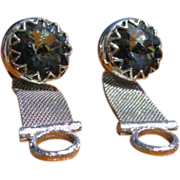 Mid Century Shields Gray Blue Glass Rivoli Stone Mesh Cufflinks