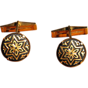 Vintage Toledo Spain Damascene Star Cufflinks