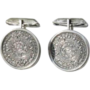 Vintage Sterling Silver Aztec Calendar Cufflinks - Mexico