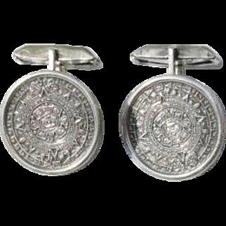 Vintage Sterling Silver Aztec Calendar Cufflinks - Mexico