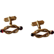 Vintage 1970s Swank Double Knot Red Tipped Cufflinks
