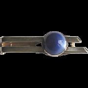 Vintage 1960's Blue Moonglow Tie Clip in 800 Silver