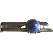 Vintage 1960's Blue Moonglow Tie Clip in 800 Silver