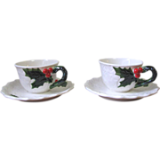 Vintage 1970 Lefton Holly Berry Cup and Saucer Set - Set of 2