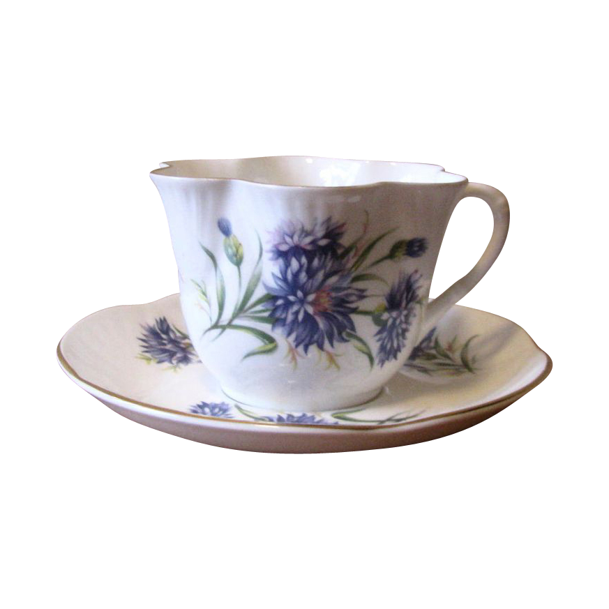 Vintage 1950's Crown Staffordshire Purple Aster Teacup and Saucer Set