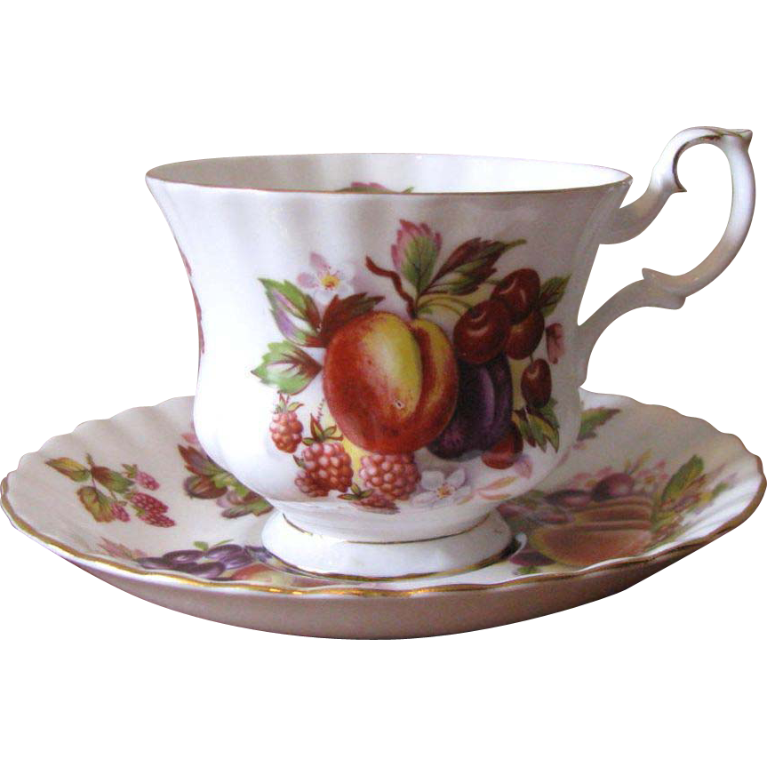 vintage royal albert bone china teacup saucer set orchard fruit from whimsicalvintage on. Black Bedroom Furniture Sets. Home Design Ideas