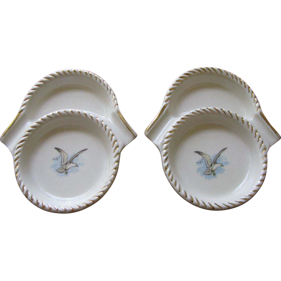 Vintage Tobacciana Ceramic Ashtray Coasters - Set of 2