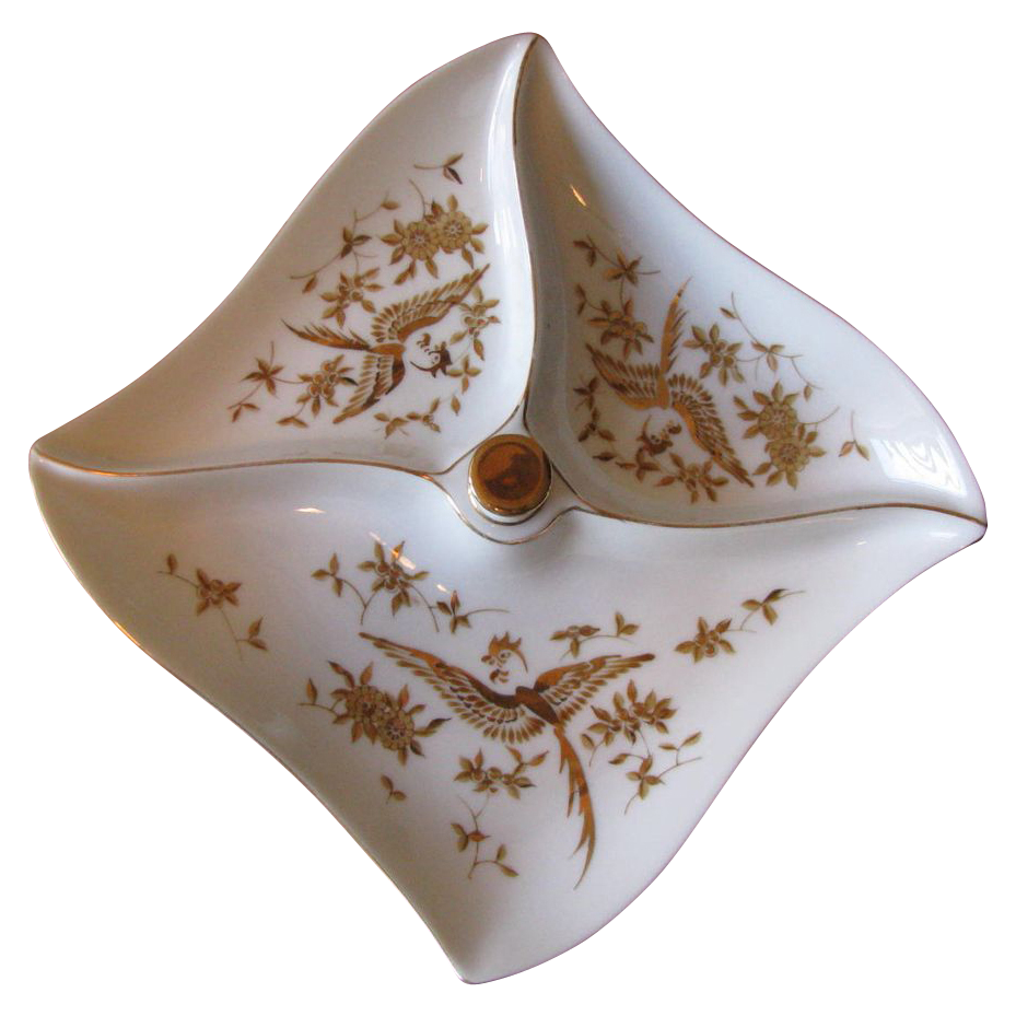 Vintage 1950's White Porcelain Divided Serving Dish with Gilt Bird Motif