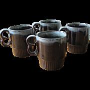 Vintage Brown and Blue Ceramic Drip-ware Mugs - Set of 4