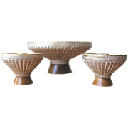 Mid Century Modern Stangl Pottery Console Bowl and Candlestick Set