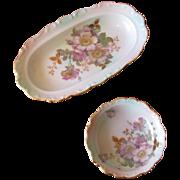 Vintage Schumann Bavaria Porcelain Floral Celery Dish Nut Bowl Set
