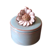 Vintage Turquoise Blue Round Ceramic Trinket Box with Daisy Finial