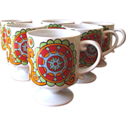 Vintage 1960s Mod Flower Power Ceramic Mugs - Set of 6