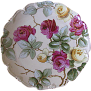 Antique Rose Floral Porcelain Plate Signed Heinz