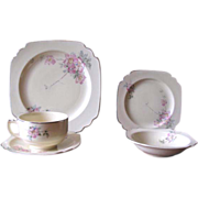 Vintage 1930's Homer Laughlin Wells Briar Rose Luncheon Set - Service for 4