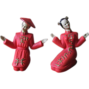 Vintage Ceramic Geisha Girl Ceramic Figurines - Set of 2