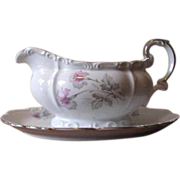Vintage 1940's Edelstein Bavaria Porcelain Gravy Boat - Silver Trim with Pink and Gray Orchid Florals