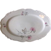 Vintage 1940s Edelstein Bavaria Porcelain Serving Platter - Silver Trim with Pink & Gray Florals