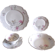 Vintage 1940s Pink and Gray Floral Porcelain Dinner Settings from Edelstein of Bavaria - 20 Piece Service for 4