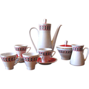 Mod 1960's 1970's Red, Black & White Coffee Pot Set from Freiberger Porzellan Germany