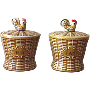 Vintage 1960s Enterprise Ceramic Jam and Jelly Servers Basket Style with Spoons - Set of 2