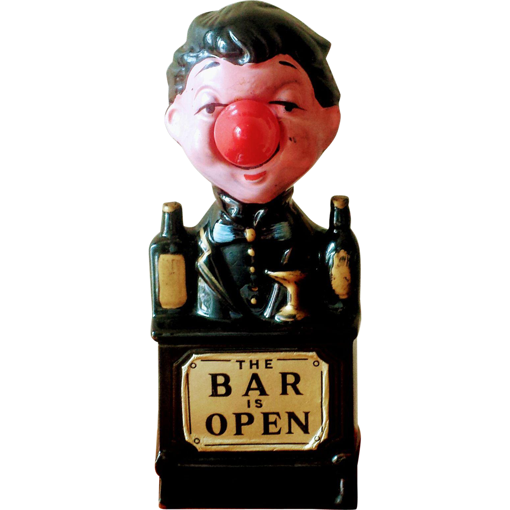 Vintage 1960's The Bar is Open Lighted Bartender Lamp Sign