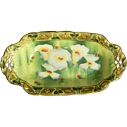 Art Nouveau I.E. and C. Company Floral Moriage Celery or Relish Dish - Japan