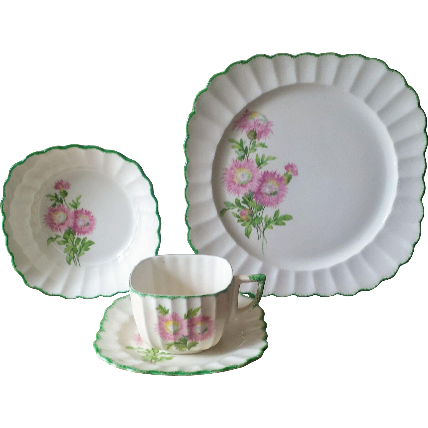 Vintage 1930s Sebring Pottery Fluted and Feathered Floral Luncheon Set