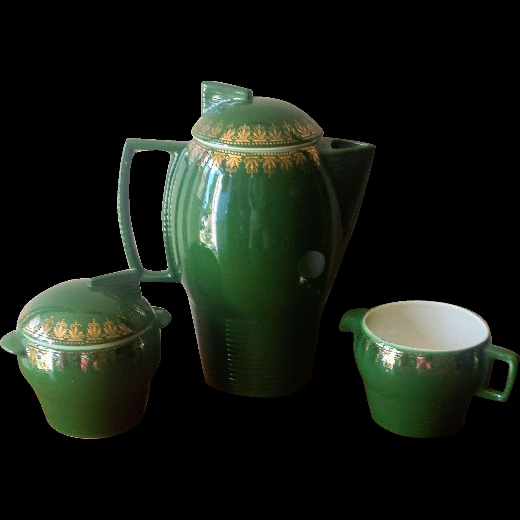 Vintage Art Deco Green Ceramic Coffee Pot Set with Sugar Bowl and Creamer